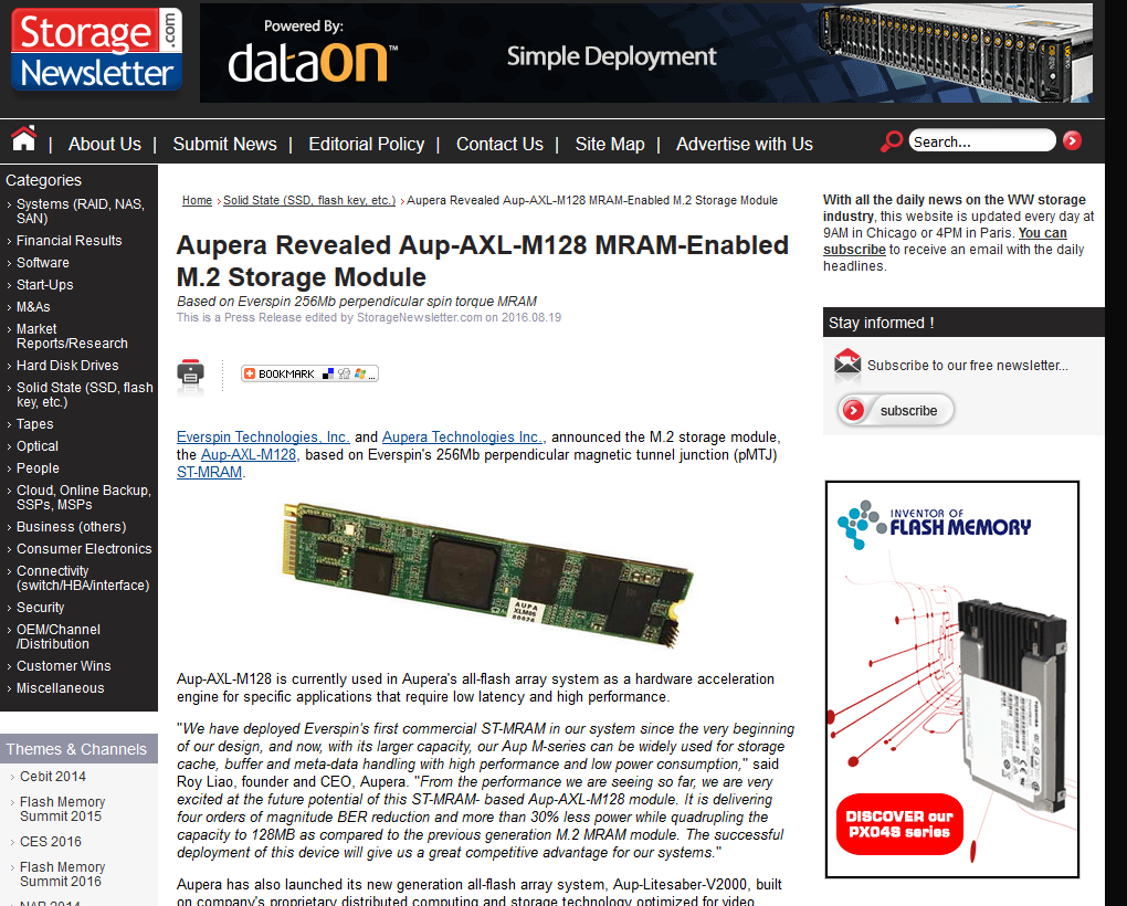 Read Article Aupera Revealed Aup Axl M128 Mram Enabled M 2 Storage Module